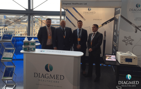 Diagmed Team at BSG Endoscopy Live 2019 stand with US Endoscopy